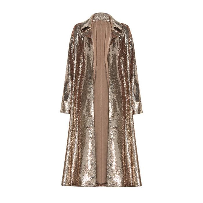 Winter Gold Sequined Jacket - cardigan long sleeve sexy coat
