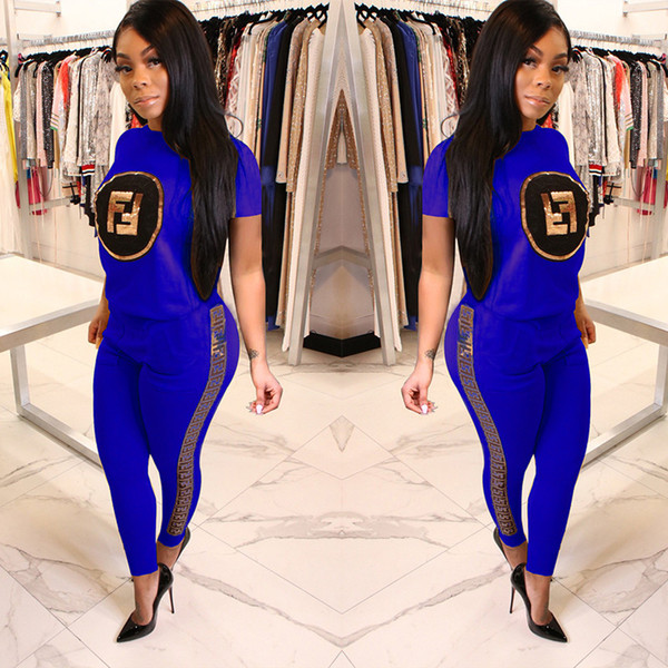 Ladies Casual 2 Piece Sequined Letter Print Tracksuit