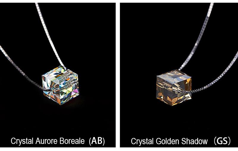Crystals From SWAROVSKI Cube Beads Necklace Pendants With Box Chain Necklaces for Women