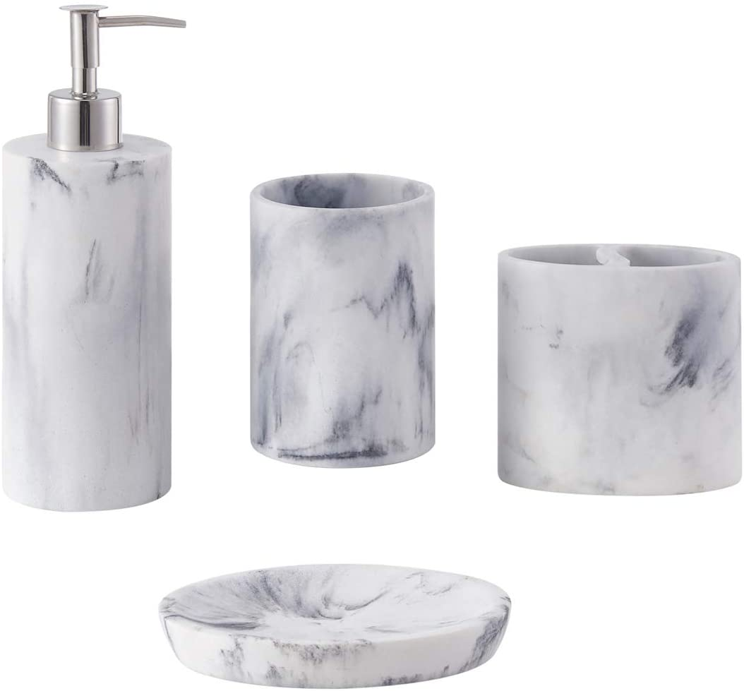 Bathroom Accessories Set Complete, 11 Piece Marble Pattern Bathroom Sets  Accessories