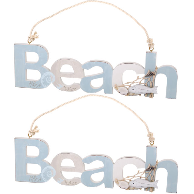 A pair of Beach Hanging Signs