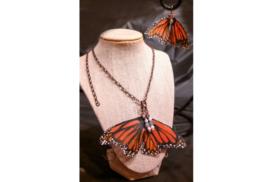 Monarch butterfly earring and necklace set Wood and resin Butterfly gift. NOT real butterfly wings Goldtone necklace and hook earrings