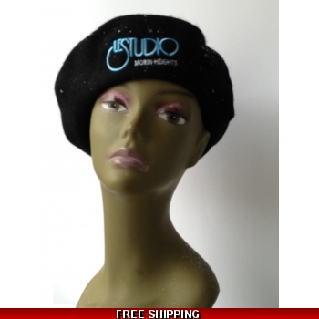 Wool Black French Beret..