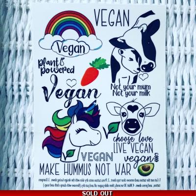Vegan Unicorn Temporary Tattoo Set Vegan Temporary Tattoos Vegan Transfers Avocado Vegan Gift Ideas