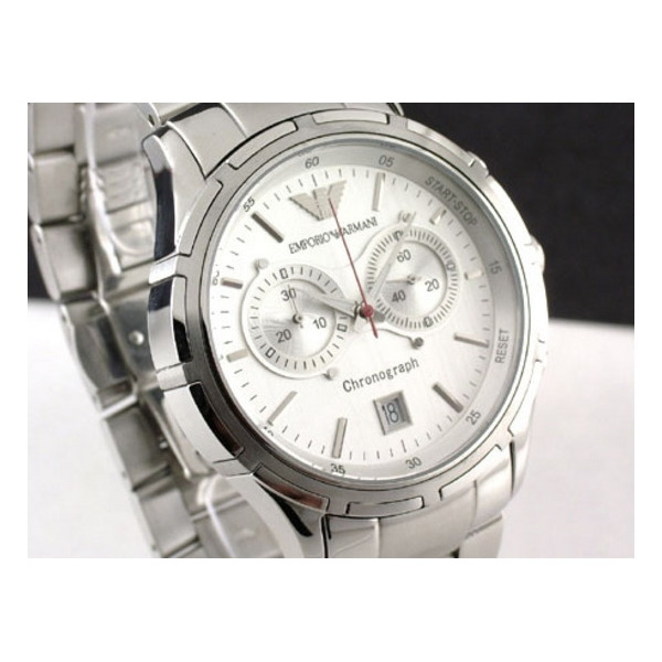 100% aito juoksukengät hyvä laatu Emporio Armani AR0534 - Mens Sports Style Steel Designer Watch
