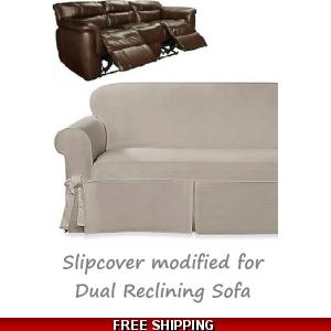 Strange Dual Reclining Sofa Slipcover Farmhouse Twill Taupe Sure Fit Inzonedesignstudio Interior Chair Design Inzonedesignstudiocom