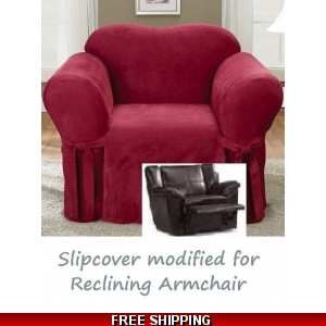 Superb Reclining Chair Slipcover Suede Burgundy Sure Fit Armchair Cover Gmtry Best Dining Table And Chair Ideas Images Gmtryco