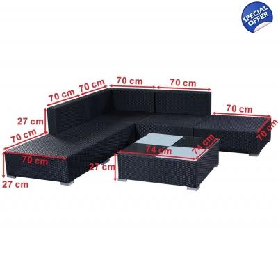 6PC Rattan Outdoor Garden Furniture Patio Corner Sofa