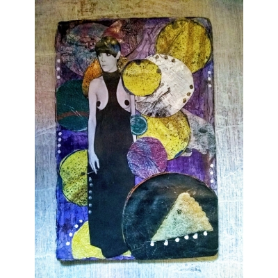 Everything is a Circle- Mixed media art card- Original
