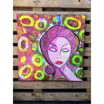 "Meditation Girl- Original mixed media 24"" x 24"" canvas"