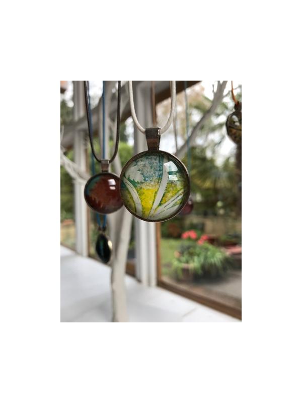 Monoprinted glass pendant - Lemon, white and blue