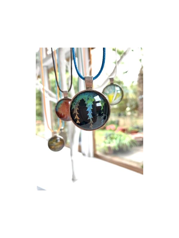Monoprinted glass pendant - black, blue, green, copper