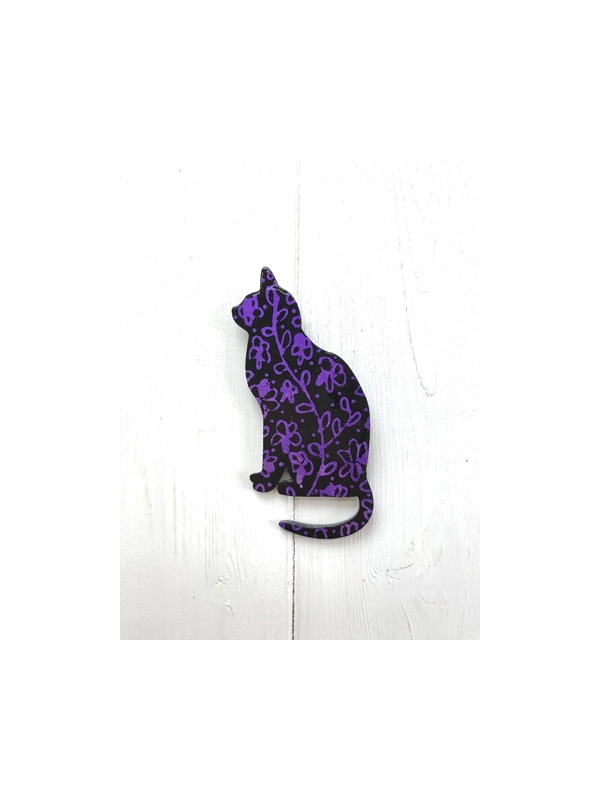 Cat brooch - black and metallic purple floral