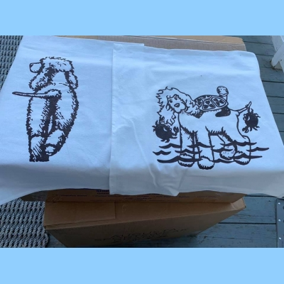 "Set of Two Tea Towels 1 ""IWS Going Away,"" 1 Mystic Logo"