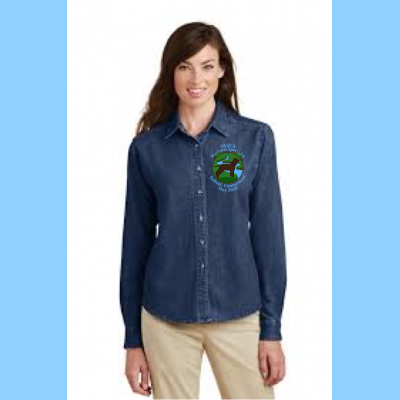 Denim Long-Sleeve Ladies Embroidered with Small River Logo