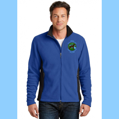 Mens Fleece Full-Zip Colorblock Jacket Embroidered with Small River Logo
