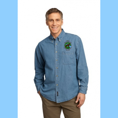 Denim Long-sleeve Mens Embroidered with Small River Logo