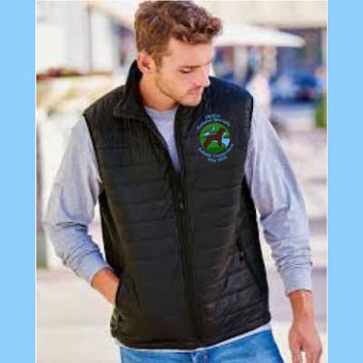 Mens Packable Puffer Vest Embroidered with Small River Logo
