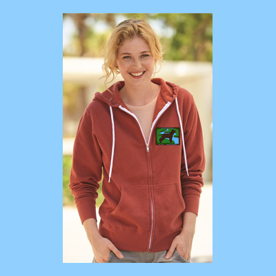 Heather French Terry Zip Sweatshirt with Small River Logo