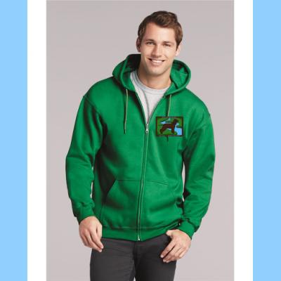 Heavy Zip-Up Sweatshirt with Small River Logo