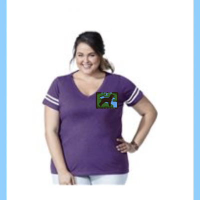 Curvy Ladies Football V-Neck with Small River Logo
