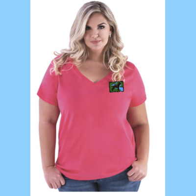 Curvy Ladies V-Neck with Small River Logo