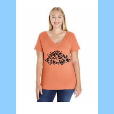 Curvy Ladies V-Neck with Lobstah Splash Logo