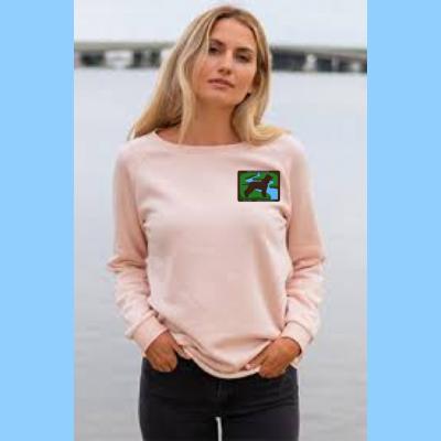 Ladies wave-wash Crewneck Sweatshirt with Small River Logo