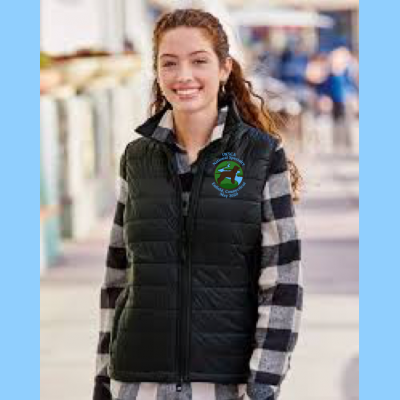 Ladies Packable Puffer Vest Embroidered with Small River Logo