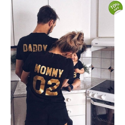 Family Look Cotton T-shirt For DADDY MOMMY KID BABY