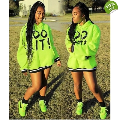 2020 Do_It Print Hooded Sweatshirt Mini Dress