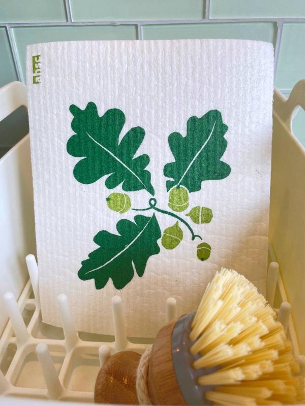 Oak Leaves & Acorns Dishcloth on white