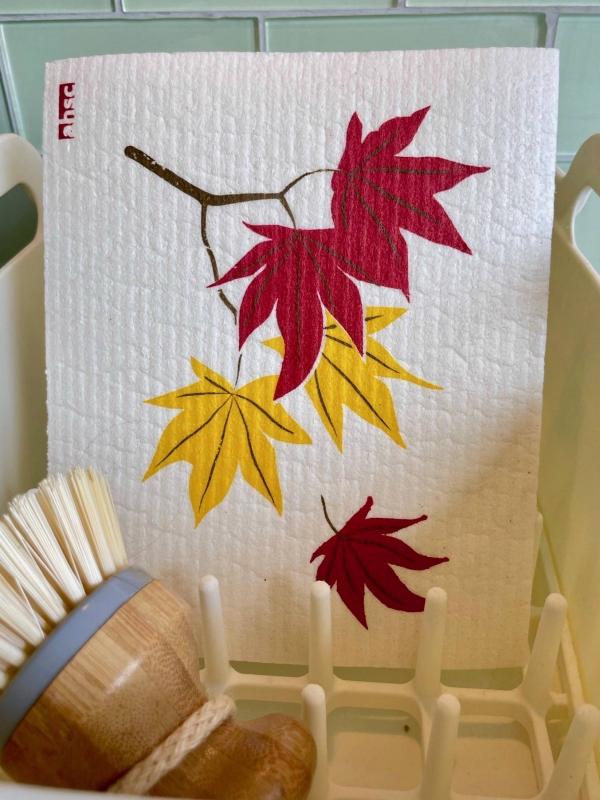 Maple Leaves Dishcloth on white