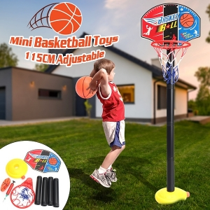 Kids Children Indoor Outdoor Portable Adjustable Mini Basketball Hoop Rim Net Ball Pump Backboard Set
