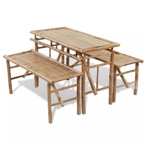 CB20679 Outdoor Folding Picnic Table Set, Bamboo - 3 Piece