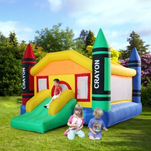 Tobbi Inflatable Crayon Bounce House With Slide Bouncer Jumper Bouncer Castle Moonwalk
