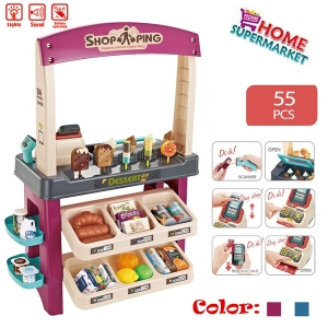 Grocery Store Playset for Kids, 55 Pieces Ice Cream Shop with Scanner, Pretend Play Food Dessert Trolley Set For Girls and Kids