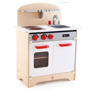 Gourmet Kitchen Toy by Hape | Fully Equipped Wooden Pretend Play Kitchen Set with Sink, Stove, Baking Oven, Cabinet, Turnable Knobs and Spice Shelf,