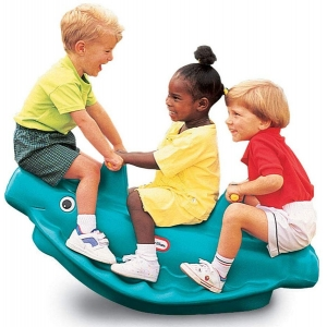 Little Tikes 486098 Classic Whale 3-Rider Teeter Totter Toy with Handles, Blue