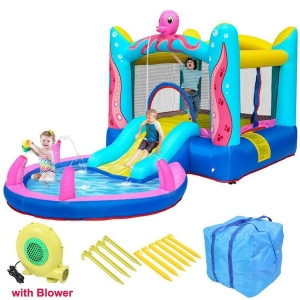 Safety Water Slide Pool Inflatable Bounce House Kids Jumping Castle With Blower