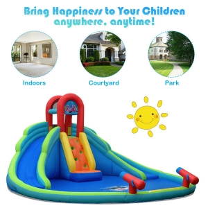Inflatable Bounce House Kids Water Splash Pool Dual Slides Climbing Wall Play