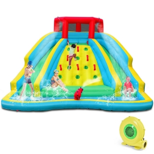 Inflatable Mighty Water Park Bouncy Splash Pool Climbing Wall w/2 Slide & Blower